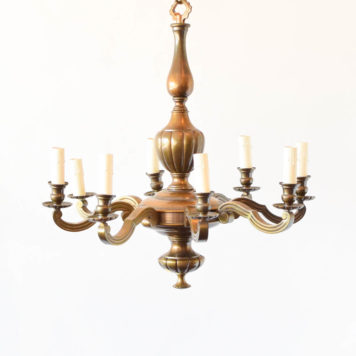 8 light large bronze Flemish chandelier