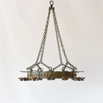 Antique 12 light iron ring chandelier