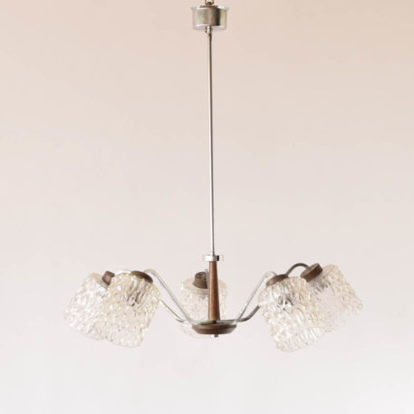 5 light silver,glass, and wood contemporary chandelier