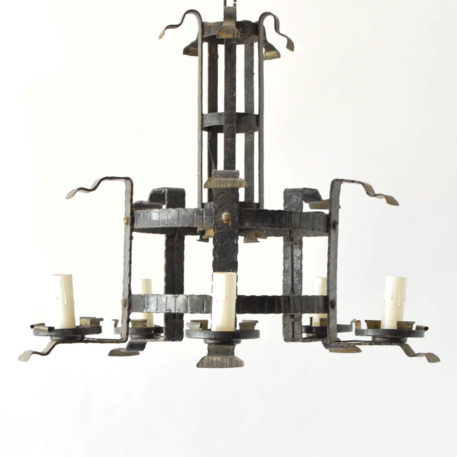 2 tier iron ring chandelier with 6 lights