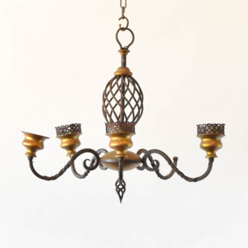 Flemish chandelier made of iron and bronze with 5 lights