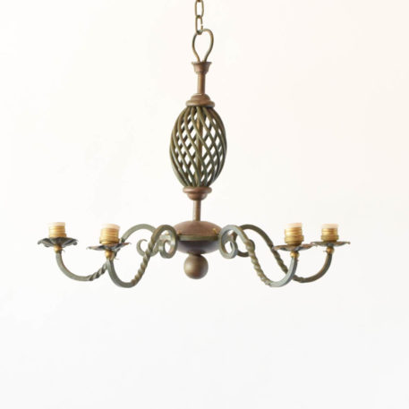 5 light iron Flemish chandelier