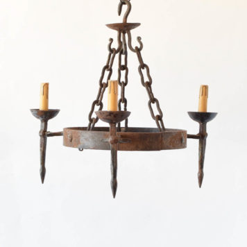 Heavy forged iron ring chandelier with 3 lights