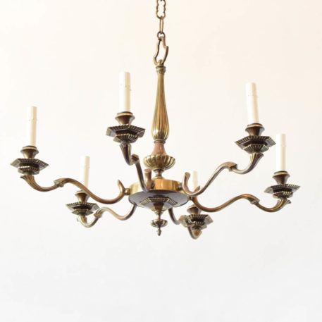 Art deco bronze chandelier with 6 lights
