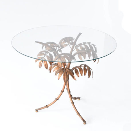 Gilded iron bamboo table base with round glass top