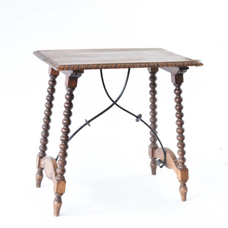 Antique spanish side table with iron stretchers