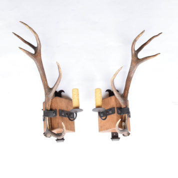 Pair of Antler sconces made of wood and iron