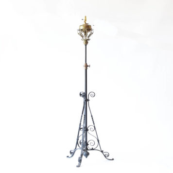 Complex iron floor lamp with adjustable column