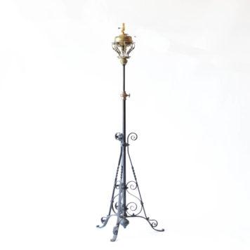 Complex iron floor lamp with adjustable column