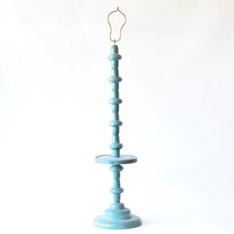 Turquoise iron floor lamp with small circle table