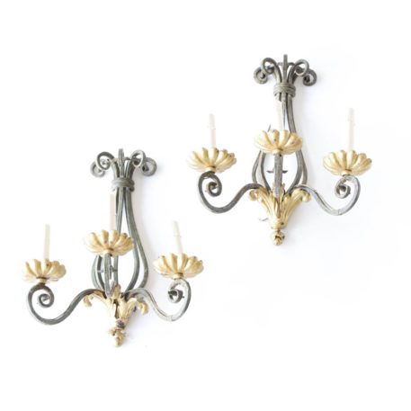 Antique pair of green iron sconces with gold accents
