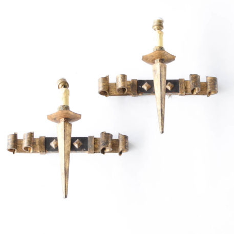 Pair of iron square torch style sconces