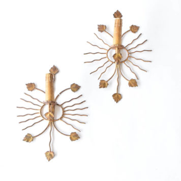 Pair of gold sun and floral style sconces