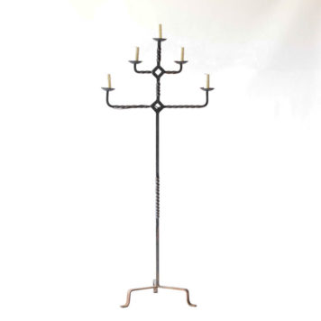 5 light rustic iron floor lamp with 3 levels