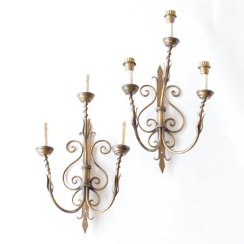 Pair of large iron sconces with fleur de lis