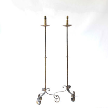 Pair of simple rustic iron floor lamps