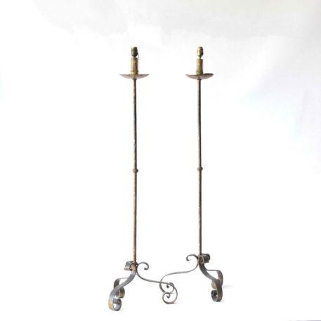 Pair of simple rustic iron floor lamps