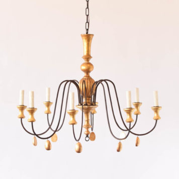 Gilt wood and iron fixture with 8 lights