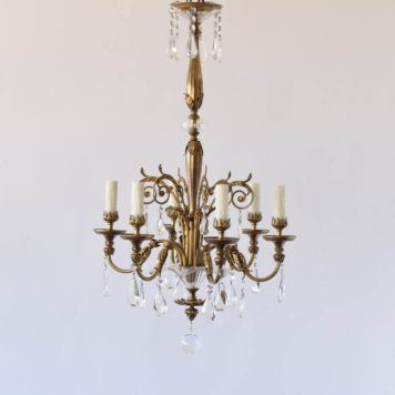 Bronze and crystal chandelier with glass