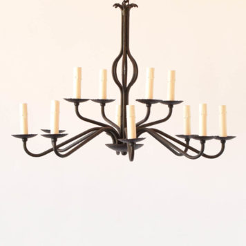 Simple black iron chandelier