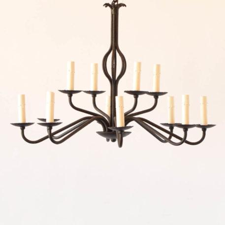 Simple black iron chandelier
