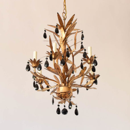 Gilt iron italian chandelier with black crystals