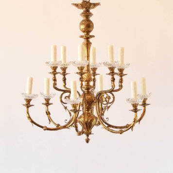 Bronze and crystal gas chandelier