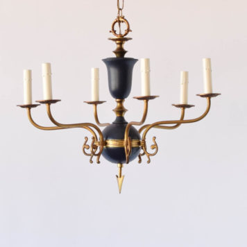 6 light blue and bronze empire chandelier