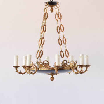 8 light empire chandelier with blue bottom