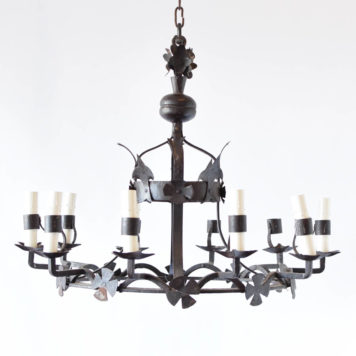 Vintage Belgian chandelier with large crown form surrounded by cross motifs