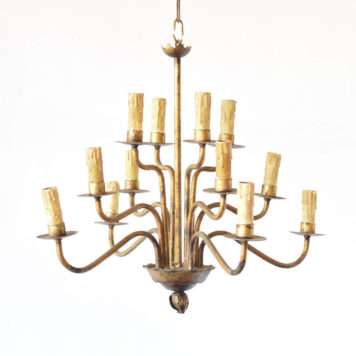 Vintage iron chandelier from Spain with 3 rows of 4 arms