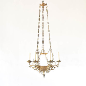 Antique bronze chandelier from Belgian church