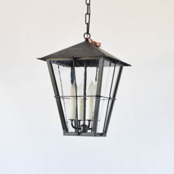 Pair of vintage Frnech lanterns with restoration glass