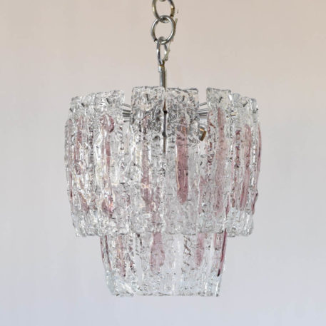 Mid century glass pendant from Italy with clear glass panels highlighted with a streak of amethyst