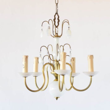 Translucent white glass and brass chandelier from Belgium