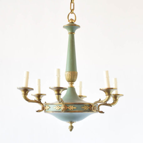 Painted empire chandelier with original green patina and decorated with brass swans on the arms