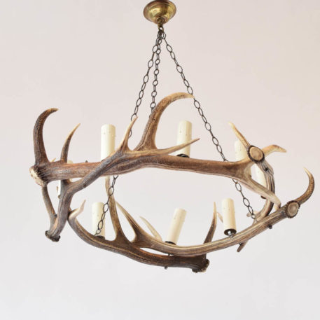 Large horn chandelier from France with 8 lights