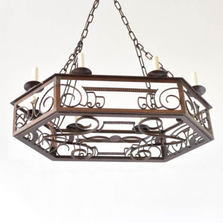 Antique art deco iron chandelier from France with a hexagon form frame