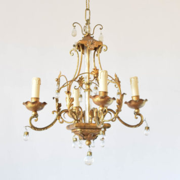 Vintage Spanish chandelier with glass column and gilded frame decorated with simple glass beads