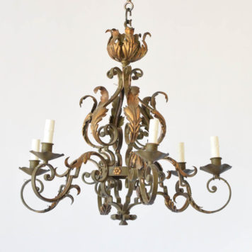 Nicely forged vintage French chandelier with curved arms and gilded leaf details