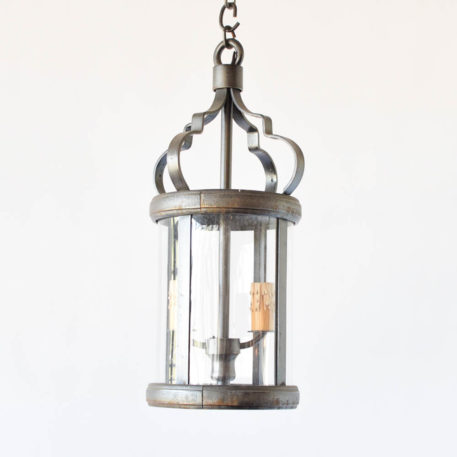 Round iron lantern from Belgium with curved lucite panels