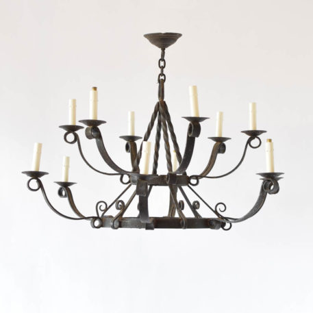 Large vintage chandelier from Belgium with 2 tiers of simple arms