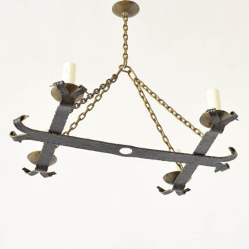 Vintage Spanish elongated small chandelier