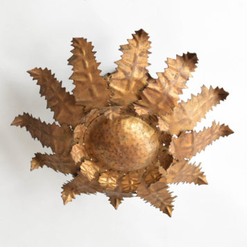Vintage Spanish Iron Sun Form light with jagged leaves