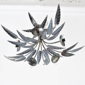 Leafy flush mount from Barcelona with 5 arms and hammered iron leaves