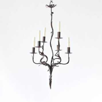 Vintage Spanish chandelier with organic form of vines and flowers with six arms