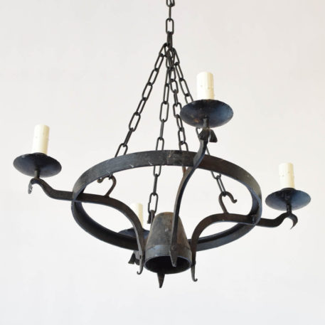 Vintage forged iron chandelier from Belgium with 4 lights on arms emanating from hammered iron ring