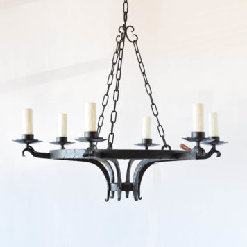 Simple iron ring chandelier from Belgium with hammered details on ring and simple bowl form