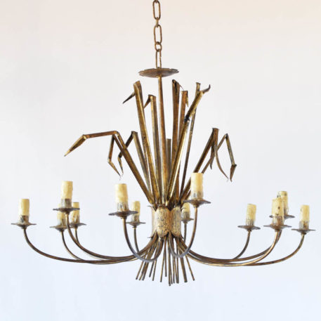 Spanish iron chandelier in the form of a bundle of sea grass with gilded finish