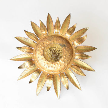 Vintage Spanish flush mount in the form of the sun with short poinitey leaves and large center textured opening